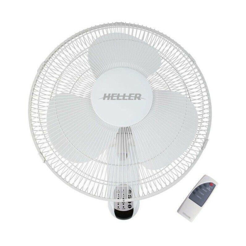 Heller Wall Fan 3 Speed Oscillating Tilt Adjustable Remote Control White 40cm