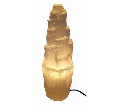 Large Selenite Tower Calcite Natural Crystal Reiki Chakra Minerals Lamp 20cm