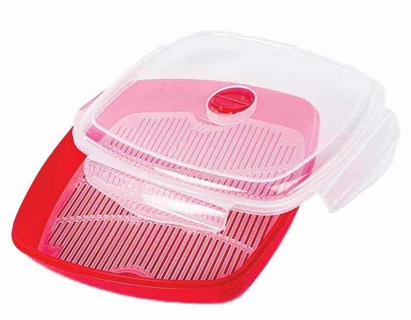 Microwave Steamer 1 Tier 3 Pieces for Cooking Meals Vegetables Kitchen BPA Free