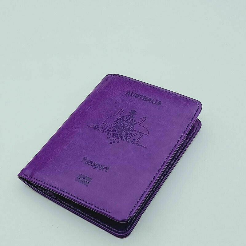 Rfid Blocking Passport Holder for Travel Accessories Passport Purse Card Wallet - Purple