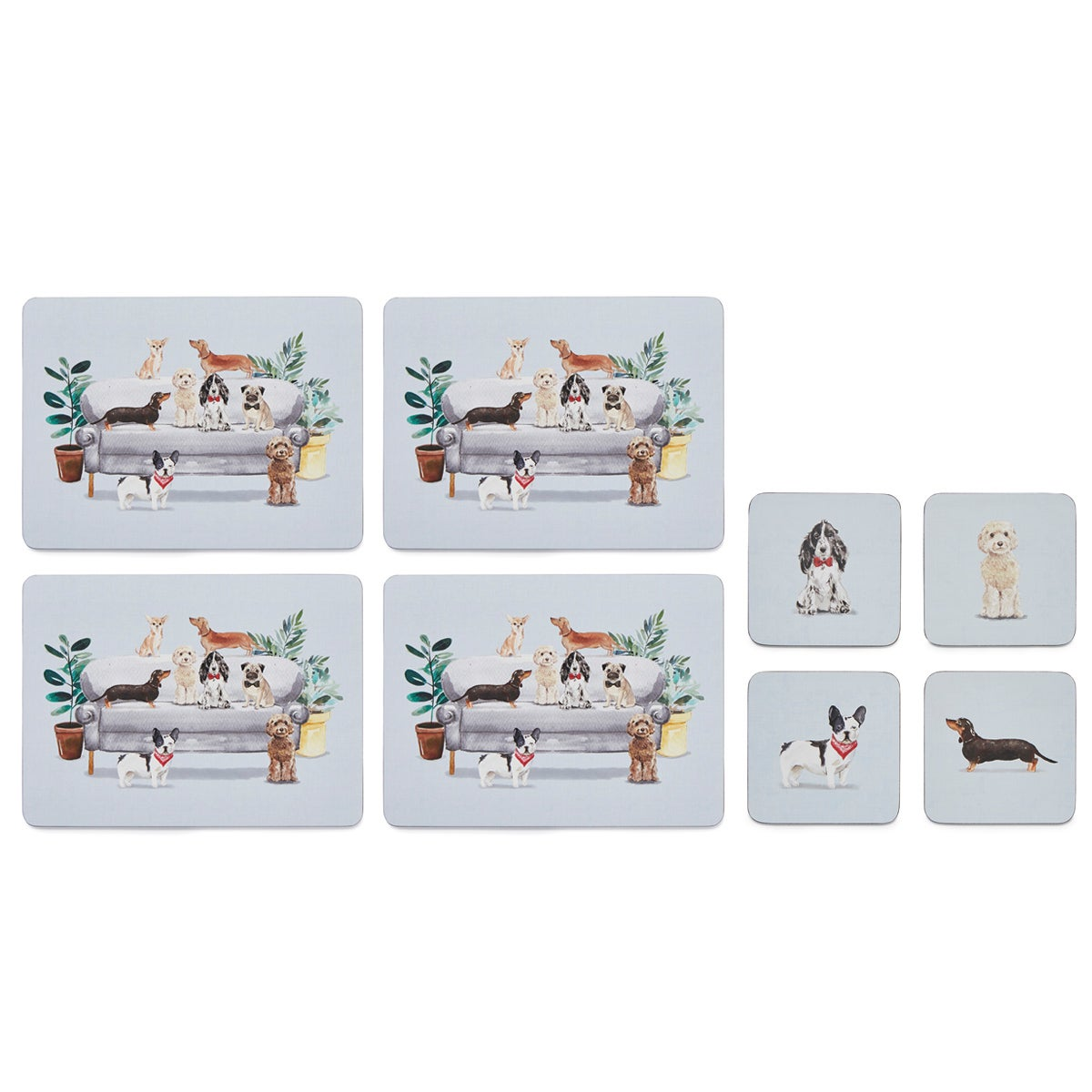 Cooksmart Curious Dogs Set of 4 Placemats and Coasters