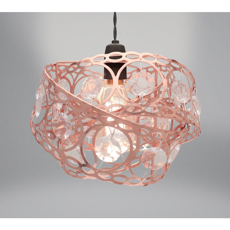 Country Club Metal Light Fitting Rose, Rose Gold Pendant Lamp Shade