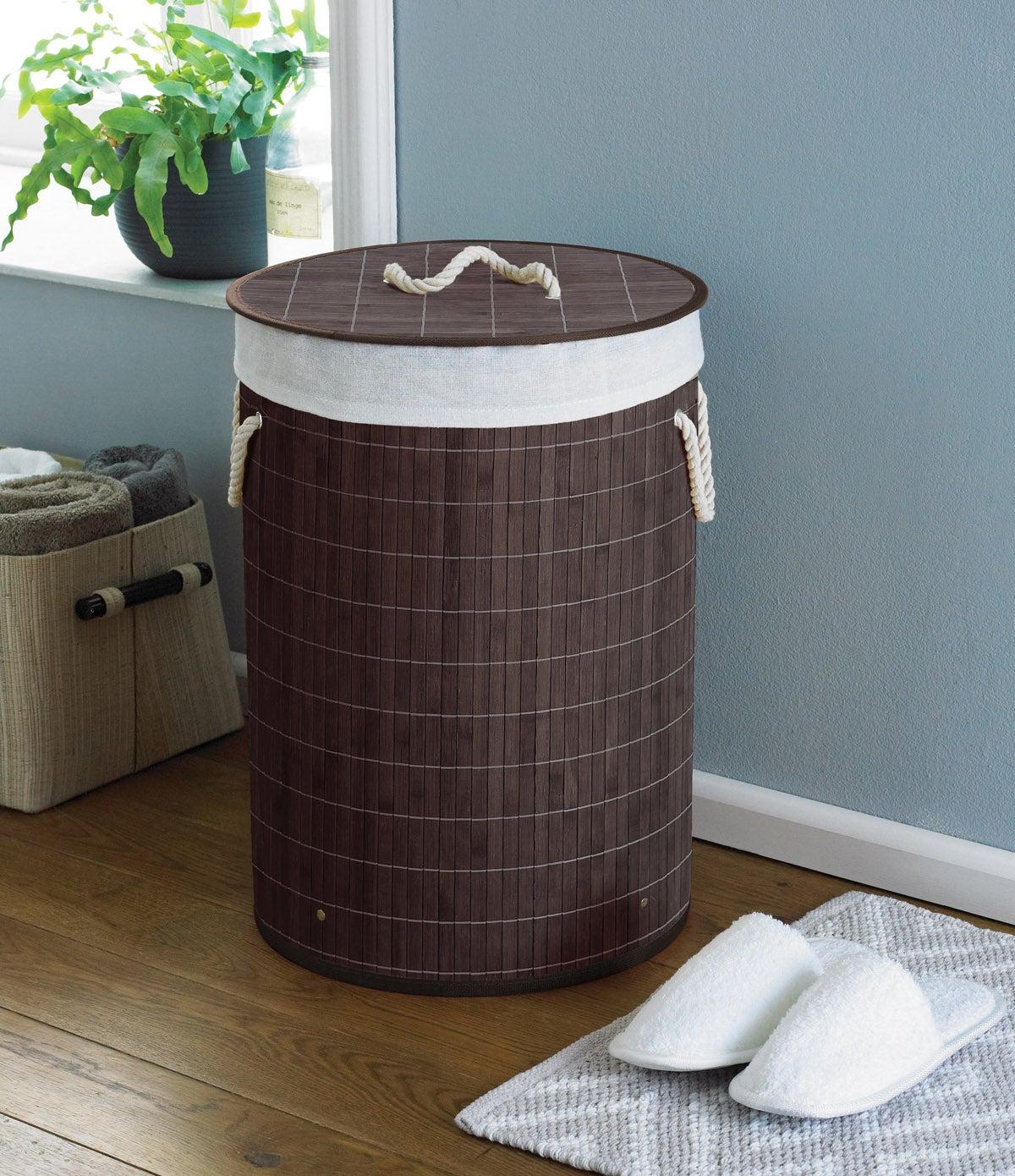 Country Club Round Bamboo Laundry Basket, Dark Brown