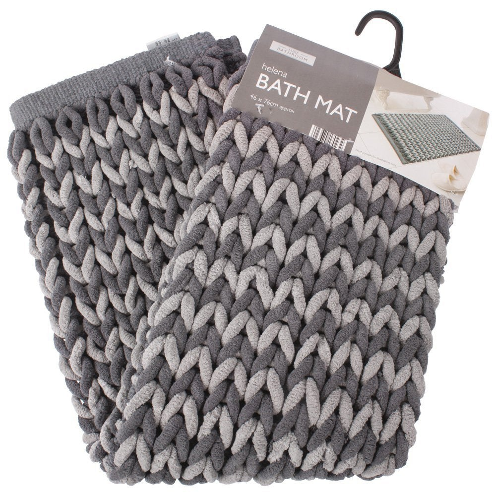 Luxe Bathroom Helena Bath Mat, Charcoal and Natural