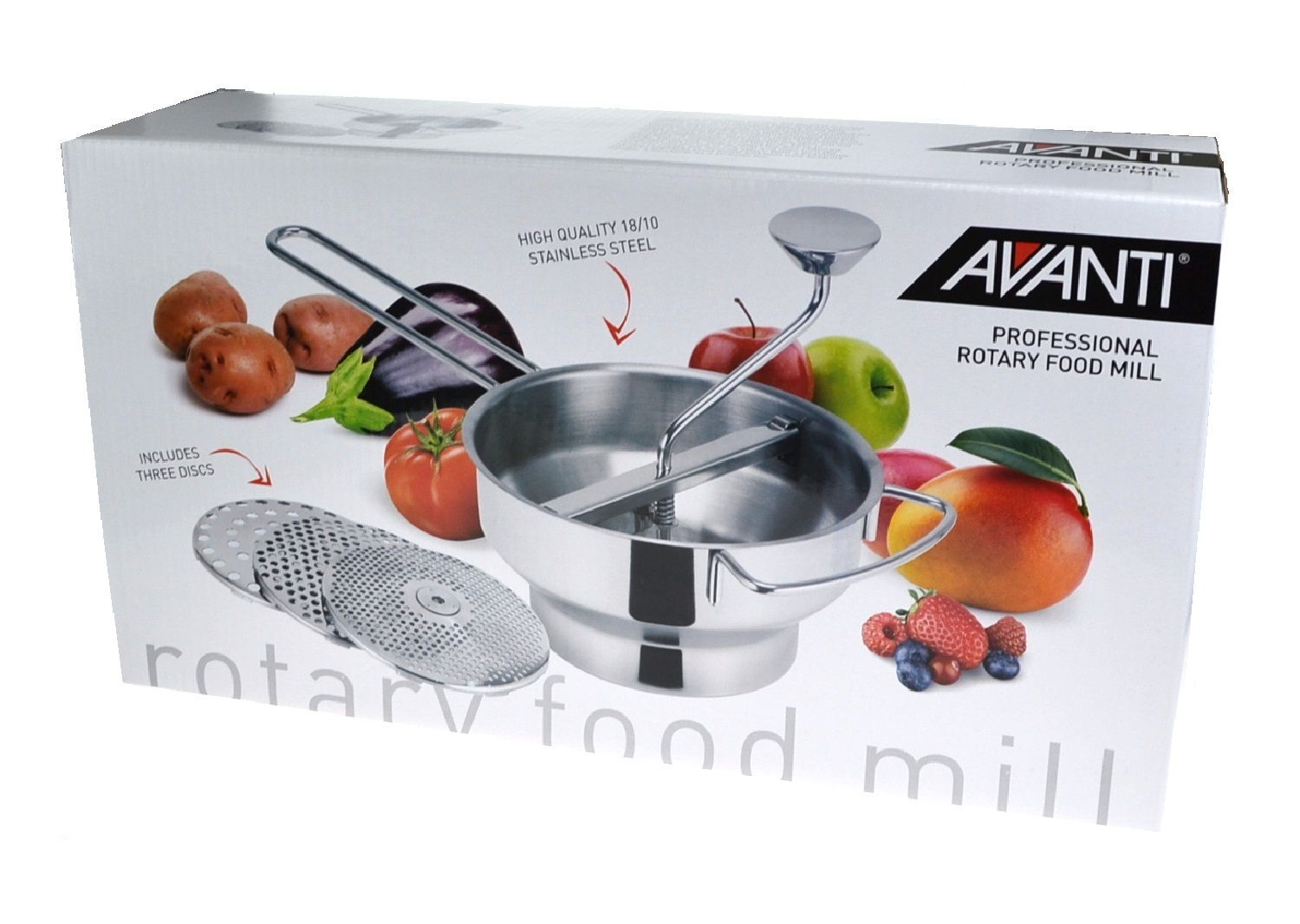 AVANTI PROFESSIONAL ROTARY FOOD MILL WITH 3 BLADES
