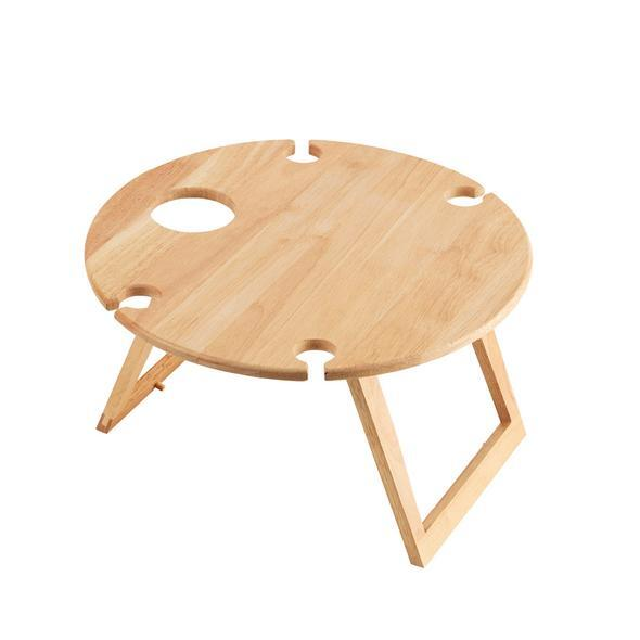 STANLEY ROGERS WOOD TRAVEL PICNIC TABLE ROUND 50cm