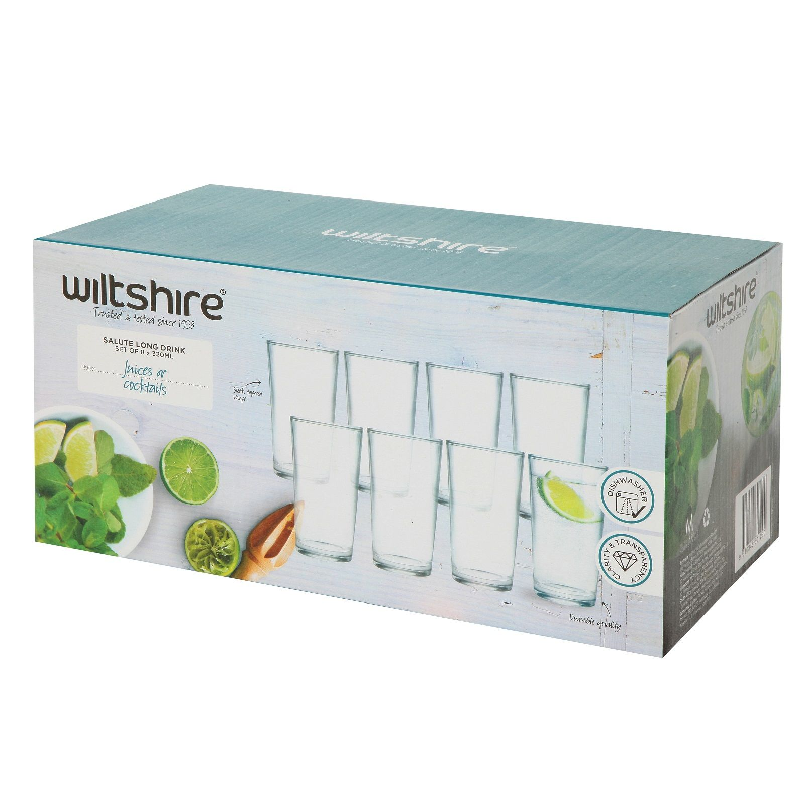 WILTSHIRE SALUTE LONG DRINK GLASSES 320ml SET OF 8