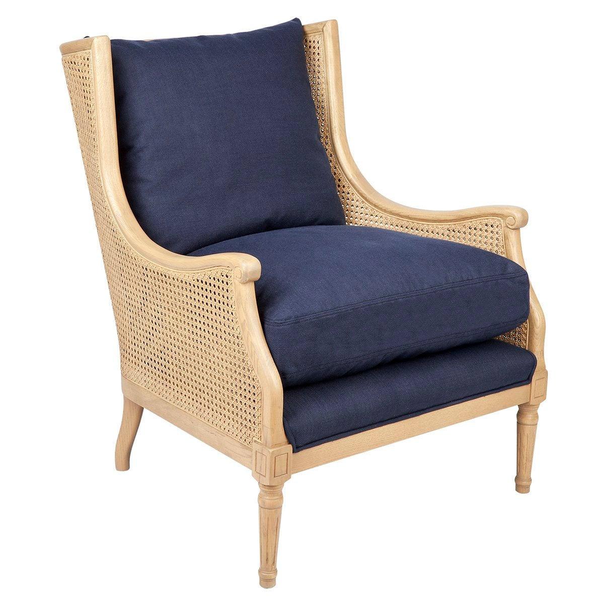 Havana Natural Rattan Arm Chair - Navy