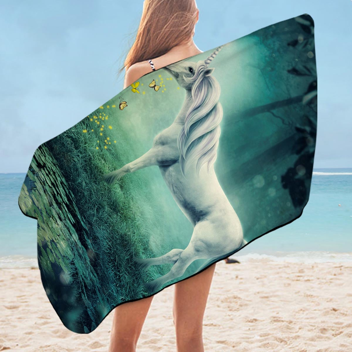 A Fairy Tale Unicorn Microfiber Beach Towel