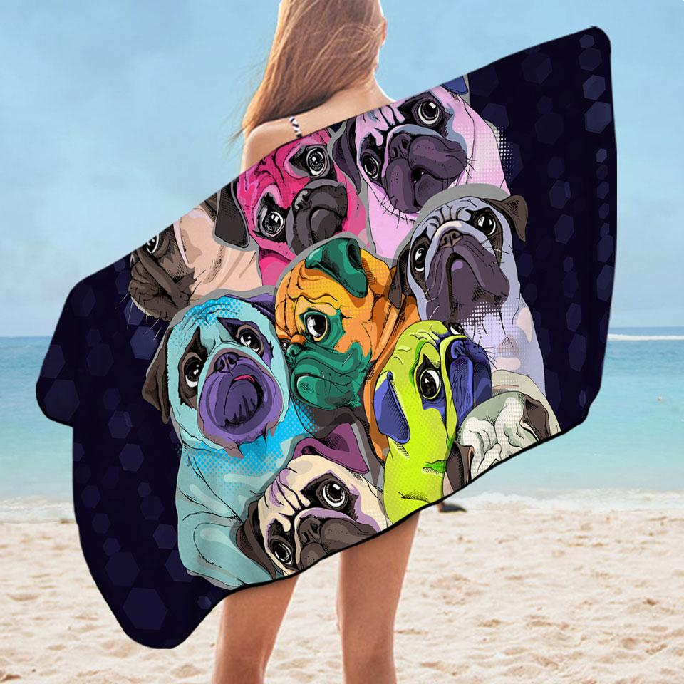 Adorable Pugs Microfiber Beach Towel