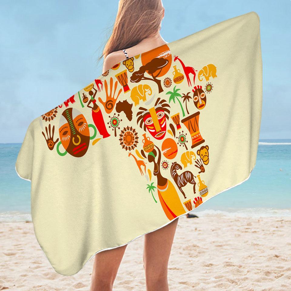 Africa Characteristics Microfiber Beach Towel