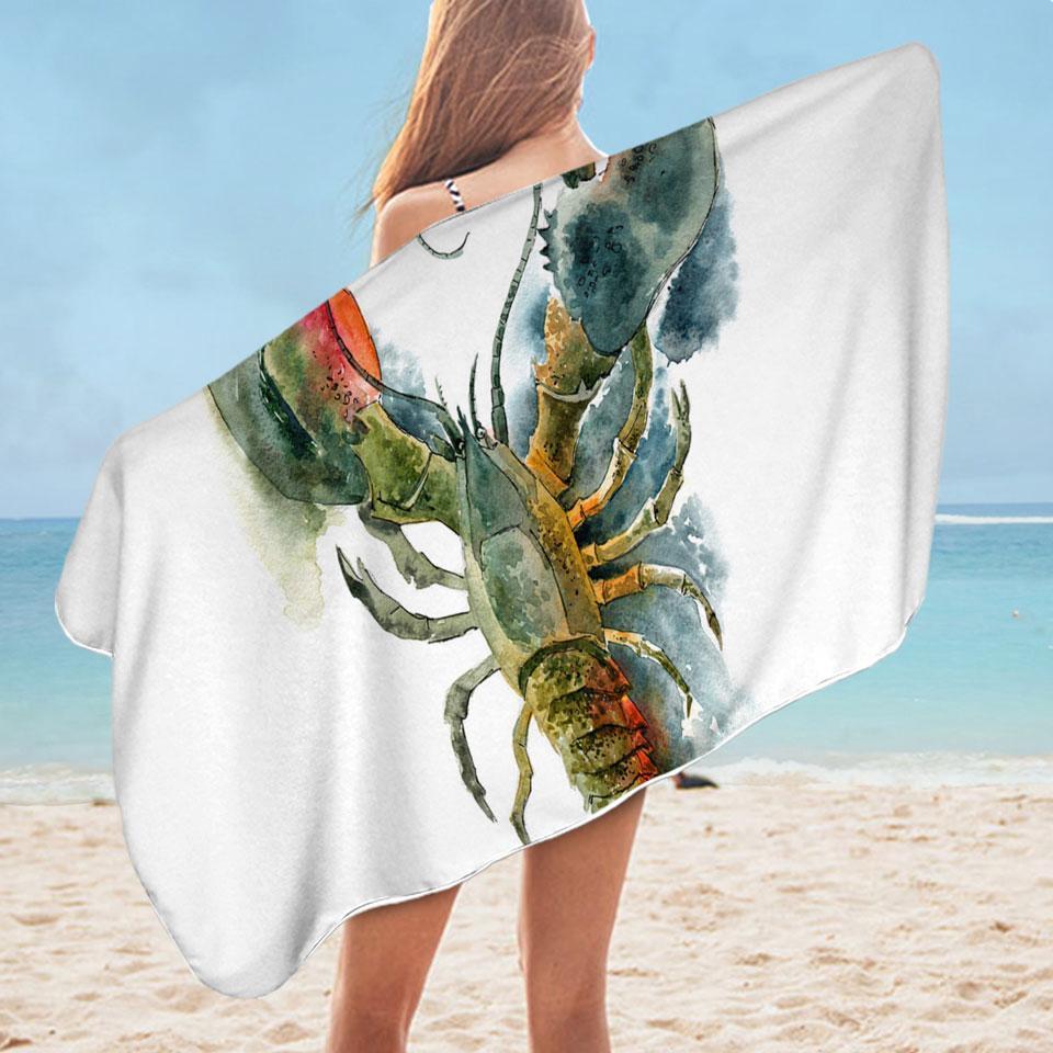 Art Painting Lobster Microfiber Beach Towel