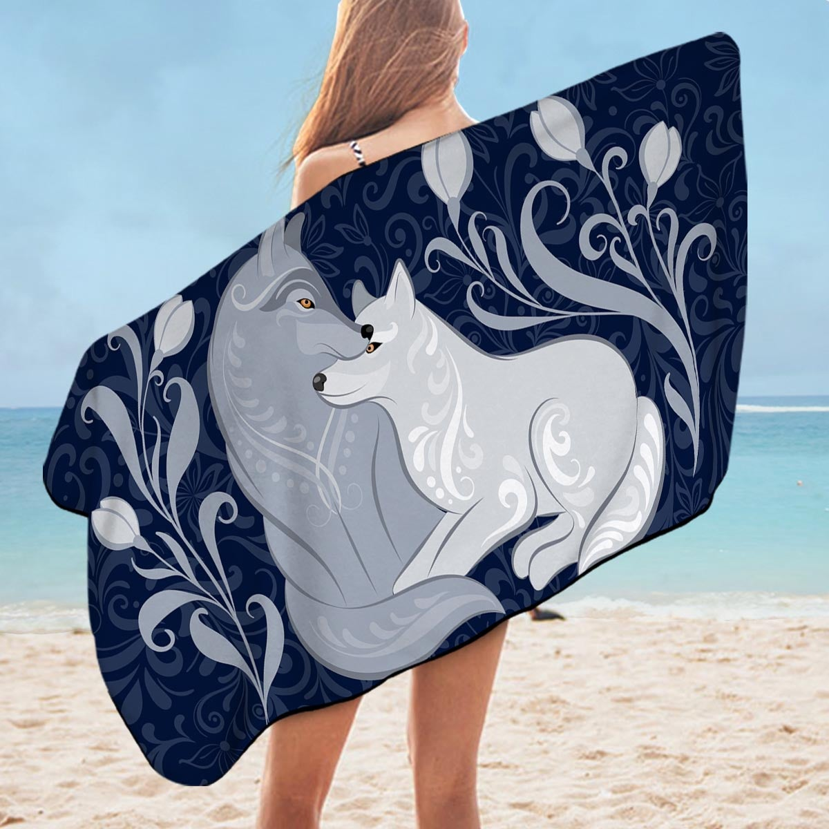 Blue Flowers and Wolves Microfiber Beach Towel