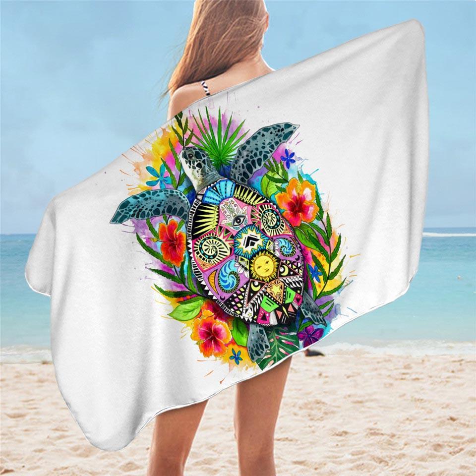 Colorful Tropical Turtle Microfiber Beach Towel