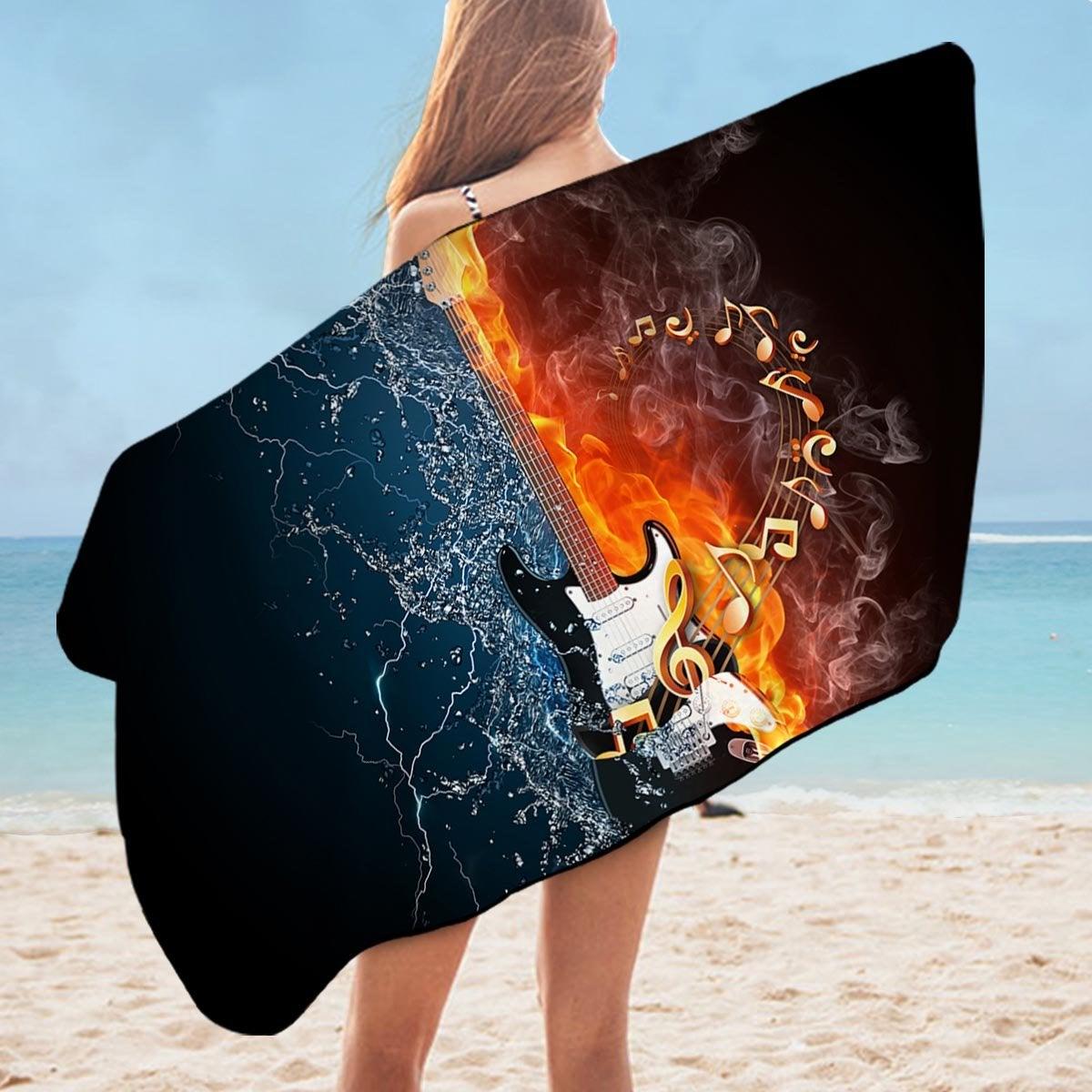 Fire vs Water Electric Guitar Microfiber Beach Towel