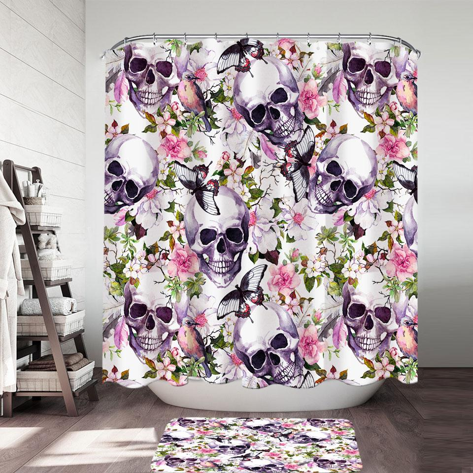 Floral Skulls Shower Curtain