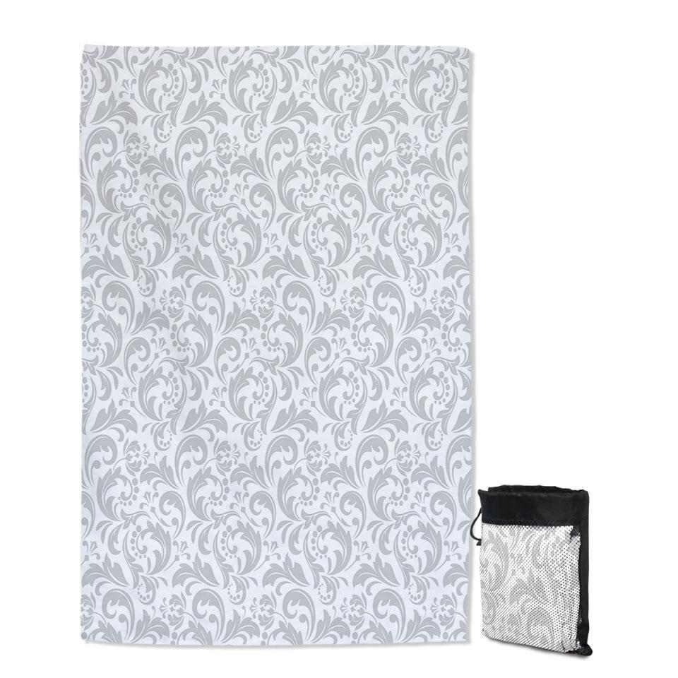 Grey Pattern of Royal Floral Quick Dry Beach Towel
