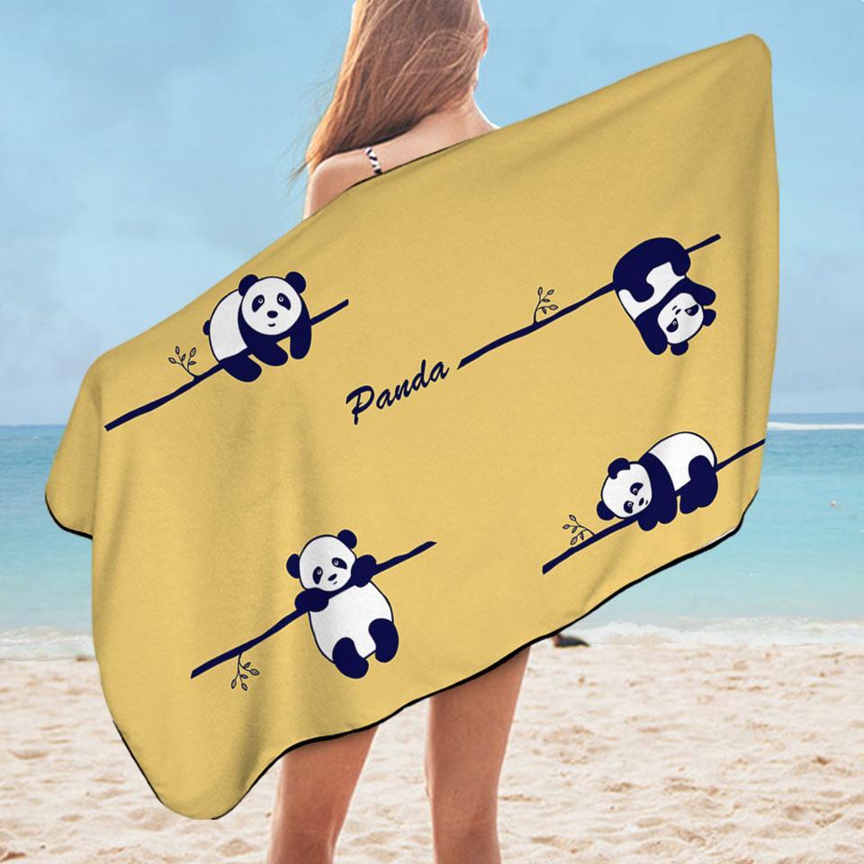 Hanging Panda Microfiber Beach Towel
