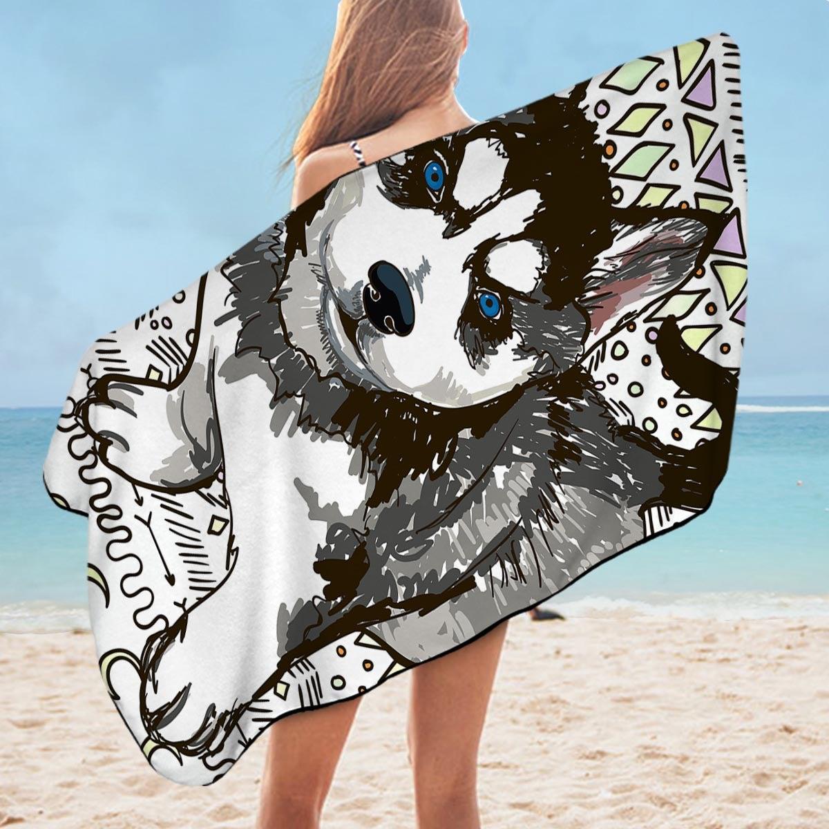 Husky Puppy Microfiber Beach Towel