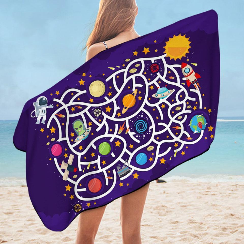 Kids Space Maze Microfiber Beach Towel