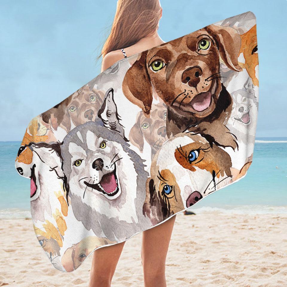Lovely Dogs Microfiber Beach Towel