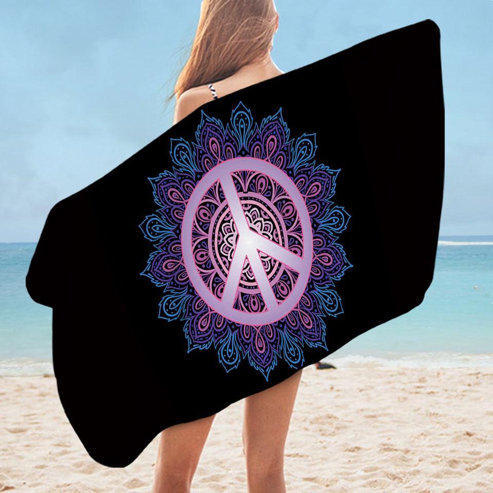Mandala Peace Microfiber Beach Towel