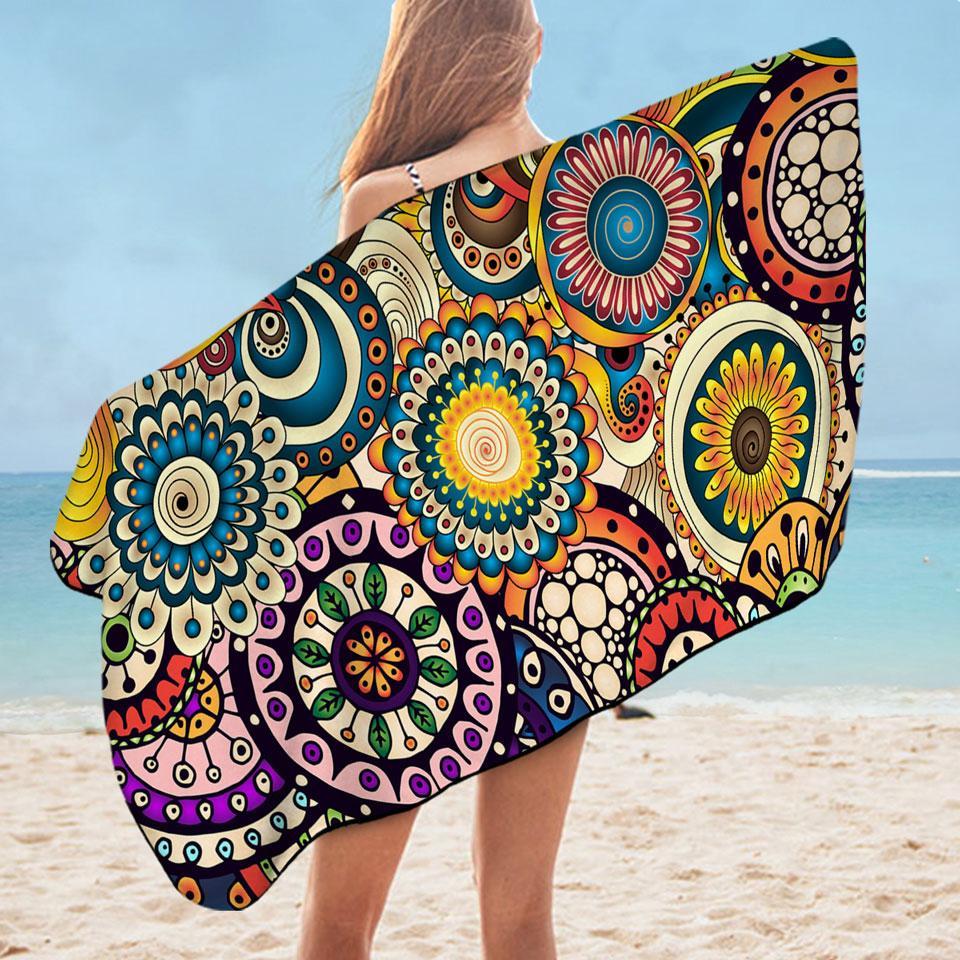 Multi Colored Little Mandalas Microfiber Beach Towel