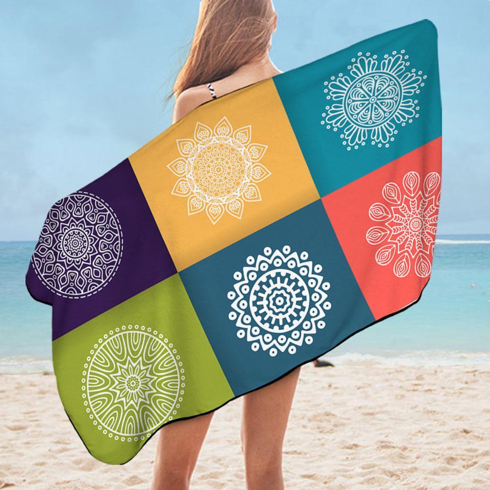 Multi Colored Panel and White Mandalas Microfiber Beach Towel