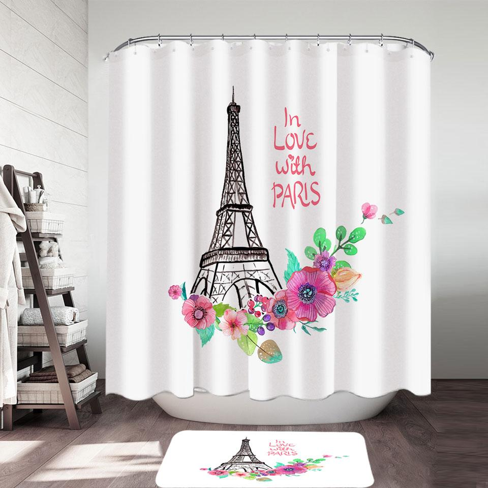 Paris Eiffel Tower Drawing and Flowers Shower Curtain