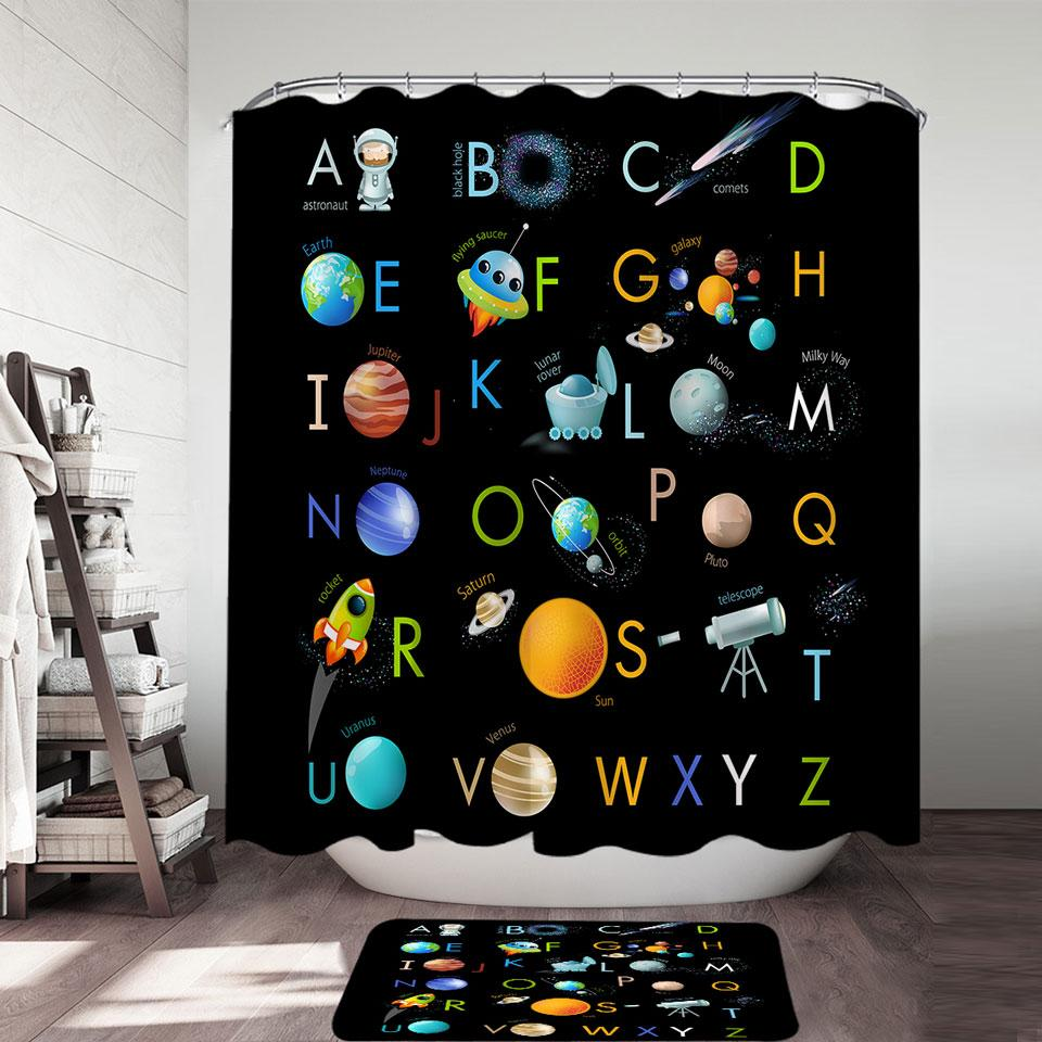 Space Themed Alphabet for Kids Shower Curtain