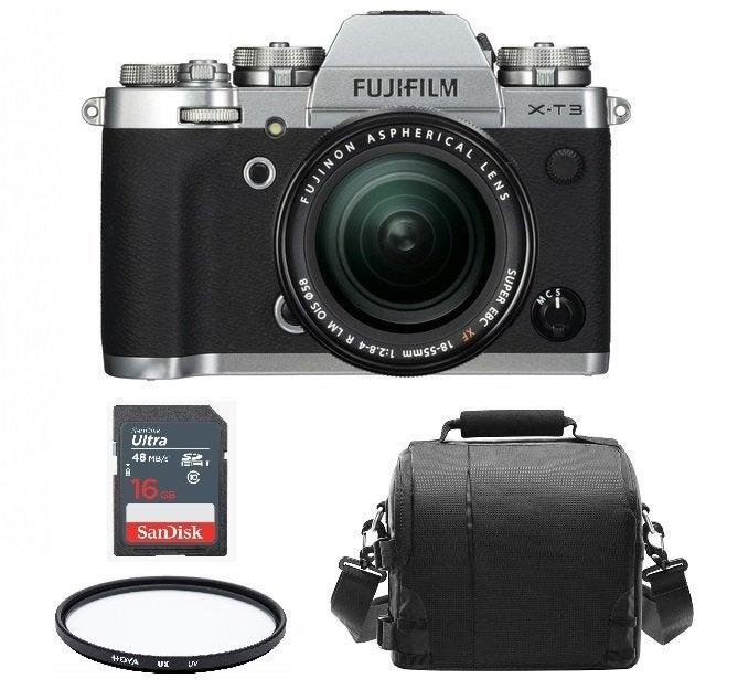 FUJIFILM X-T3 Silver KIT XF 18-55mm F2.8-4R Black + Camera Bag + 16gb SD card + HOYA UX UV 58mm Filter