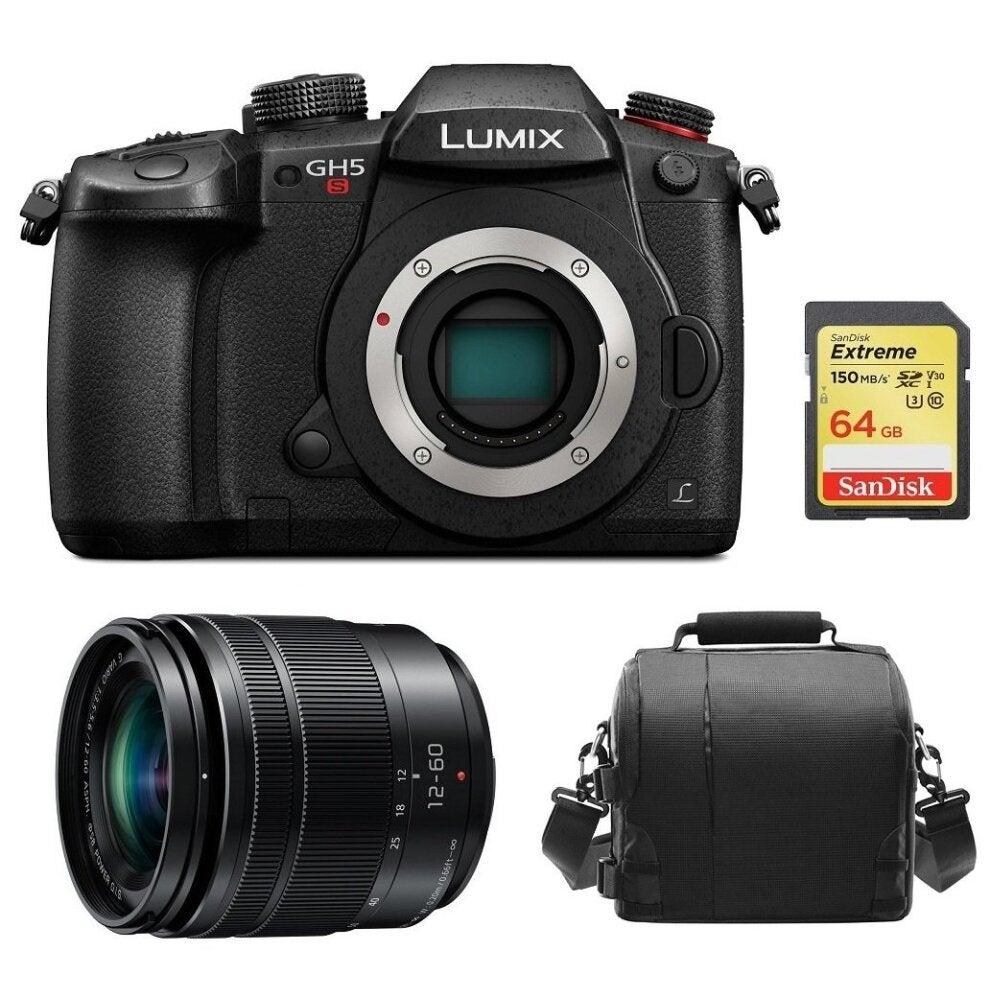 PANASONIC DMC-GH5S Black + 12-60mm F2.8-4.0 ASPH Black + 64GB SD card + camera Bag