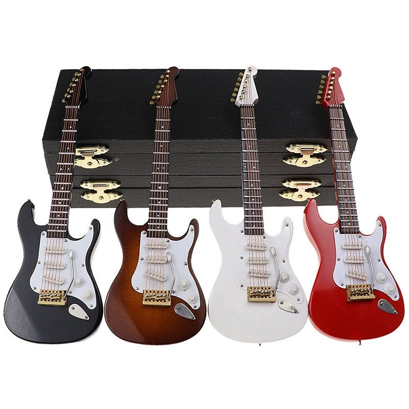 Mini Electric Guitar Model Miniature Decoration Ornaments Musical Instruments Model Children Birthday Gift With Case And Stand
