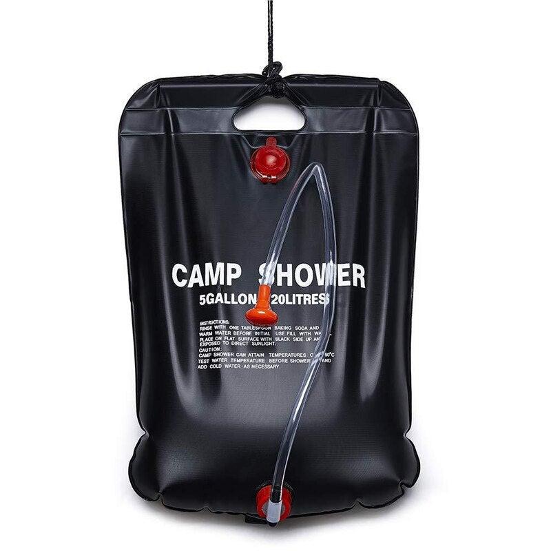 Solar Camp Shower Bag 20L Solar Energy Heated Outdoor Shower Bag Portable Bathing Bag for Outdoor Travel Hiking Climbing (Black)