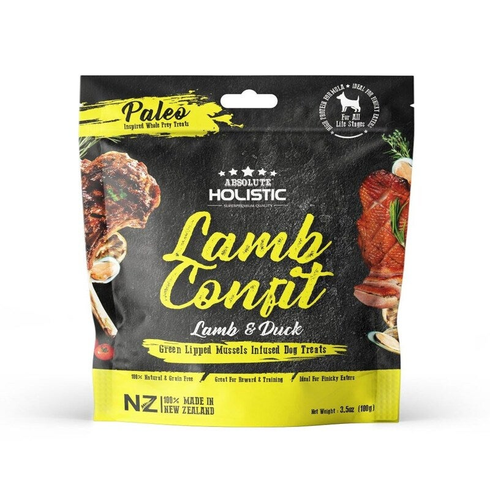 Absolute Holistic Lamb Confit Air Dried Dog Treats 100gm