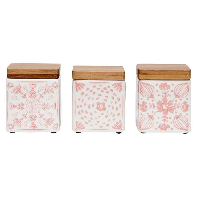 Ladelle Dwell Mini Stoneware Canister Set of 3 Pink