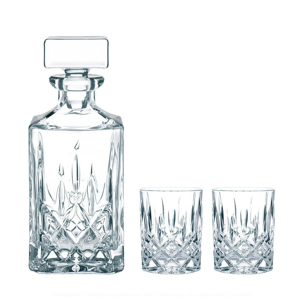 Nachtmann Aspen 3 Piece Crystal Whisky Decanter & Tumbler Set 750ml/324ml