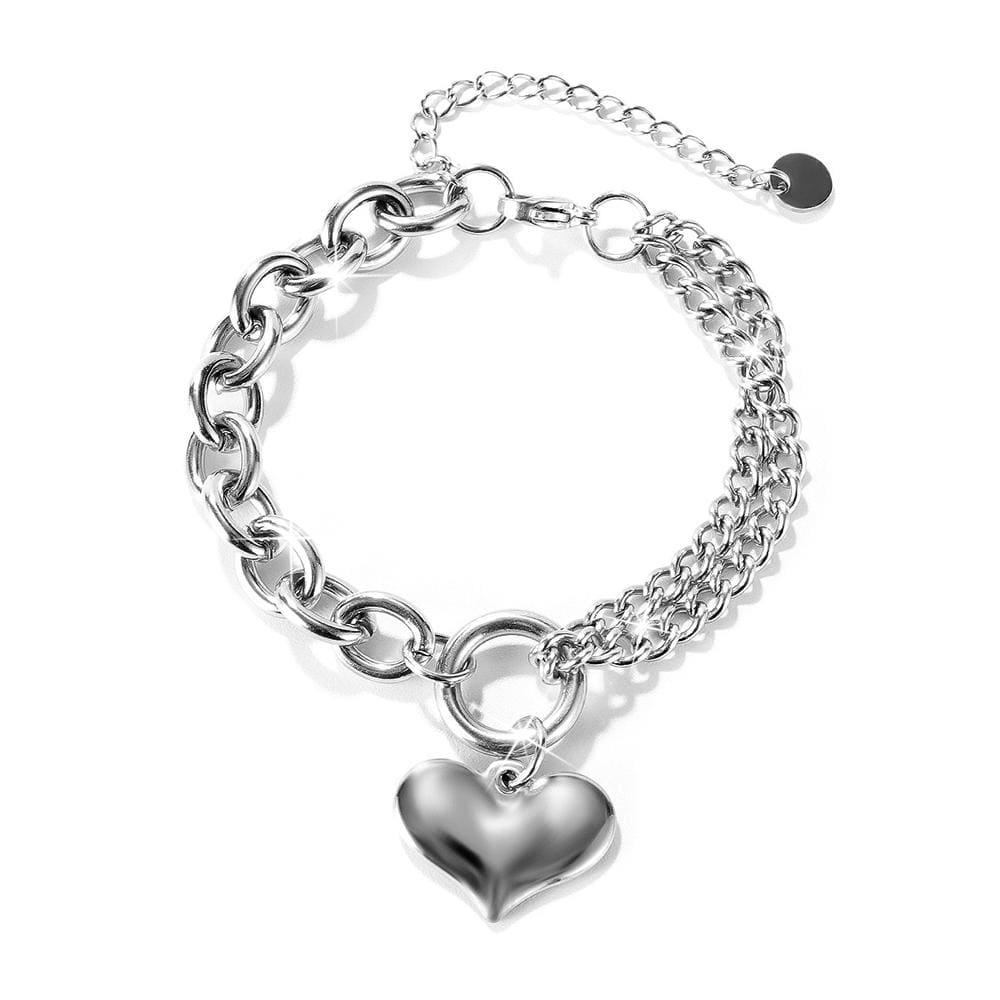 Lovely Heart Charm Dual Link Bracelet in White Gold