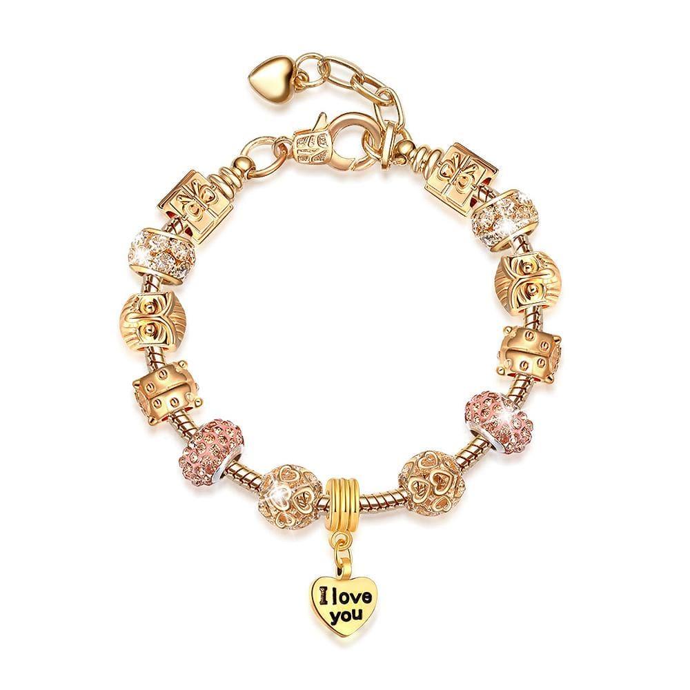 Pandora Inspired Full Set Beaded Charm Bracelet - Champagne