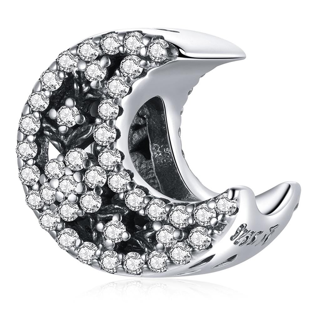 Solid 925 Sterling Silver Crescent Moon Crystals Pandora Inspired Charm