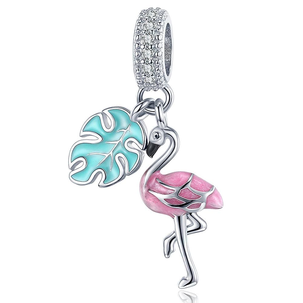 Solid 925 Sterling Silver Flamingo Animal Pandora Inspired Charm
