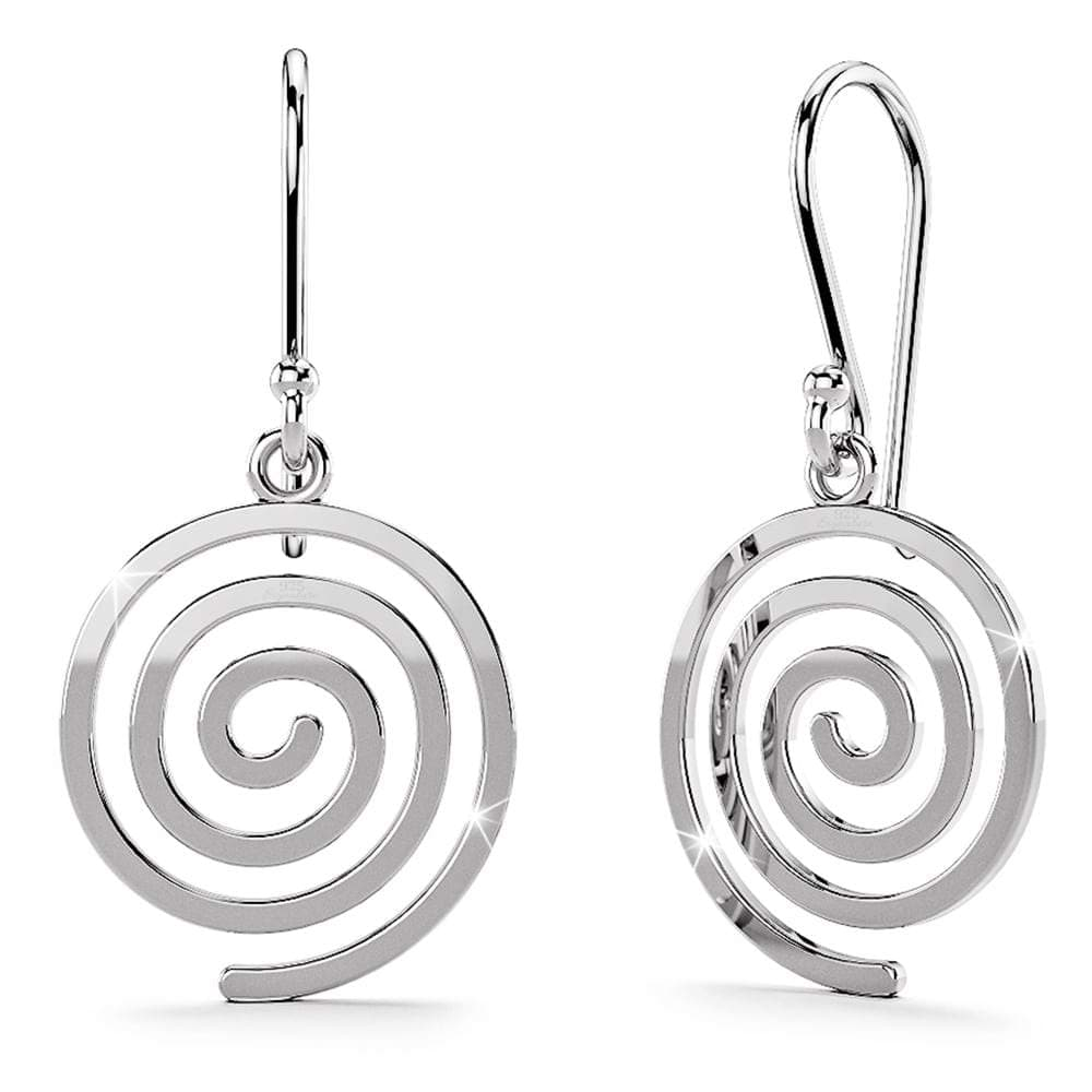 Solid 925 Sterling Silver Spiral Dangle Earrings