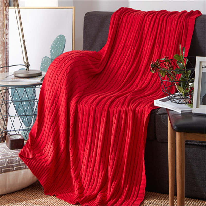 120*180cm Cozy Decorative Knit Woven Throw Blanket - Red
