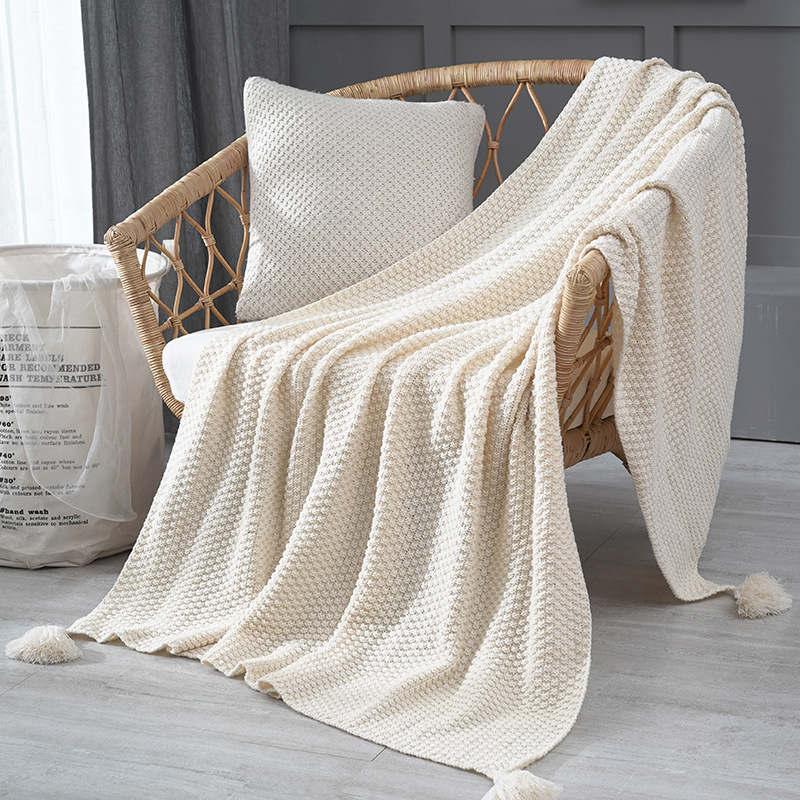 130*170cm Cozy Decorative Knit Woven Throw Blanket - Beige