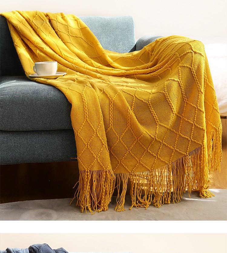 130x200cm Cozy Decorative Knit Woven Throw Blanket