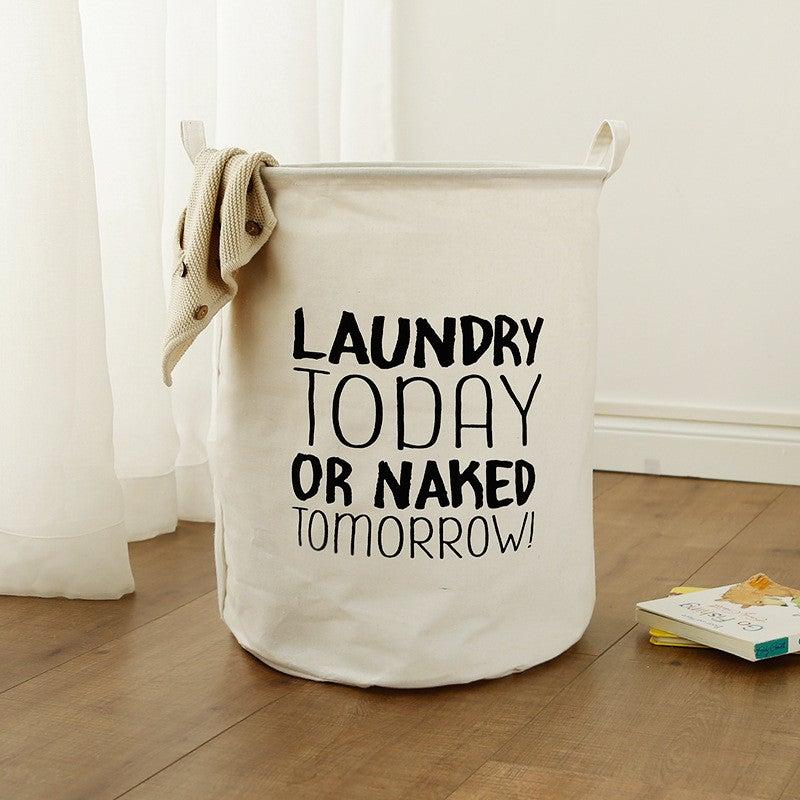 40*50cm Round Waterproof Laundry Hamper Storage Basket Organizer,Laundry Today Or Naked Tomorrow