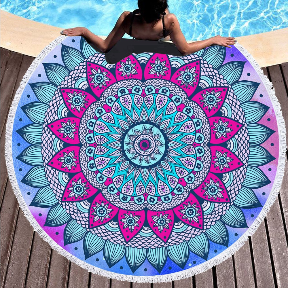 Classic Colored Kaleidoscope on Multipurpose Quick Dry Sand Proof Round Beach Towel 40001-7