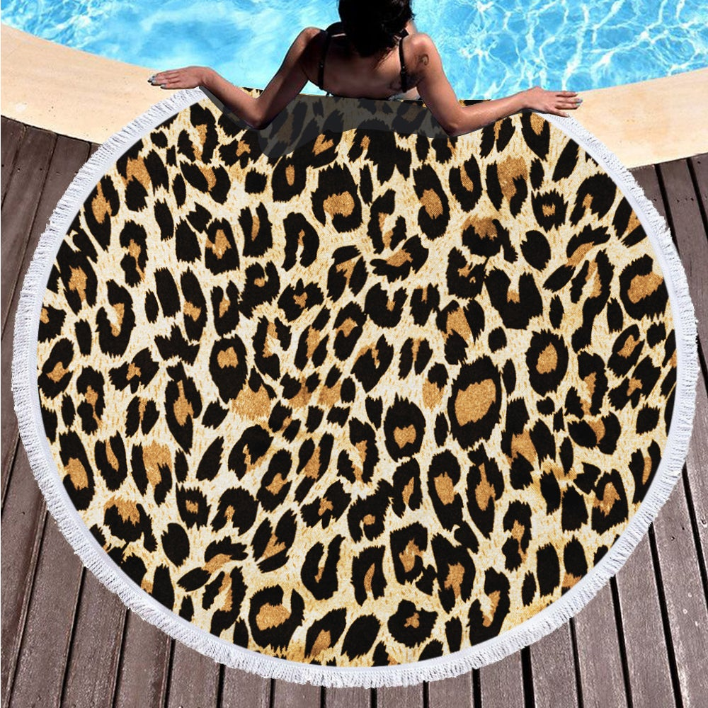 Leopard Pattern on Multipurpose Quick Dry Sand Proof Round Beach Towel 40022-16