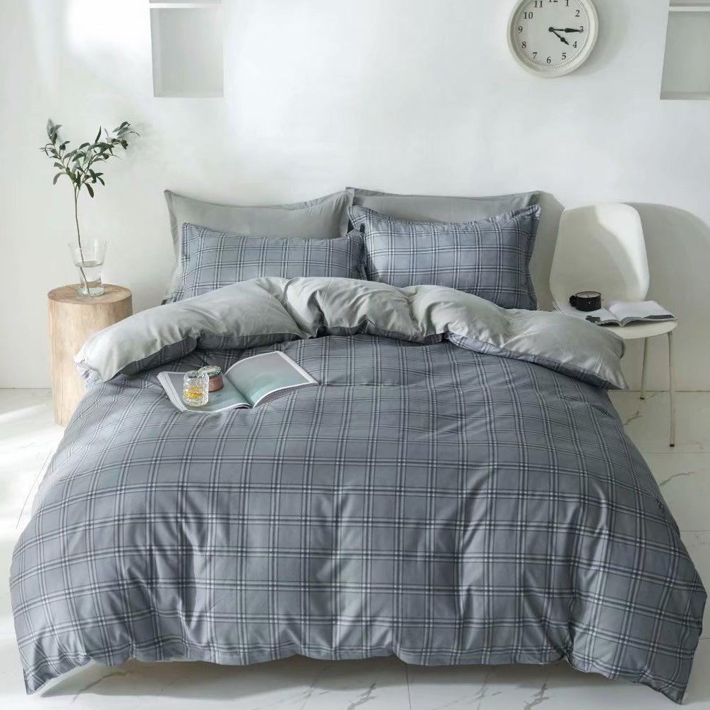 King Duvet Cover Doona Cover Set Light Grey Grid Cotton Fibre Quilt Cover 3 Pieces Bedding Set