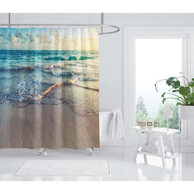 3D Beautiful Beach 091 Shower Curtain